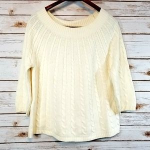 Talbots | Ivory Cable Knit Sweater
